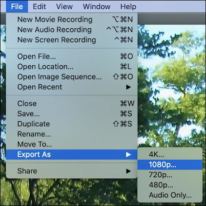 mac quicktime player - export video resolution 4k 1080p 720 480