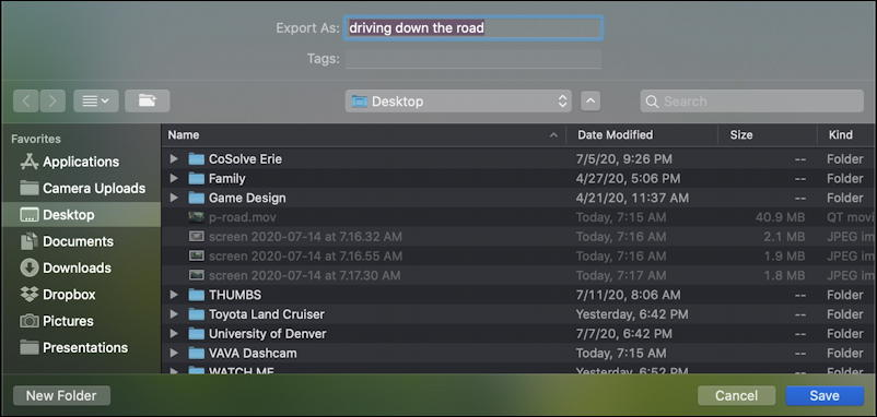 quicktime player - export - save video as