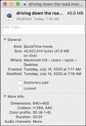 480p 2minute video file size mac macos x