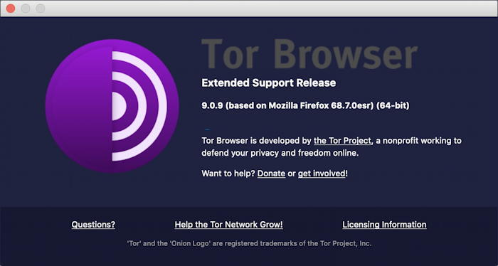 tor browser about page