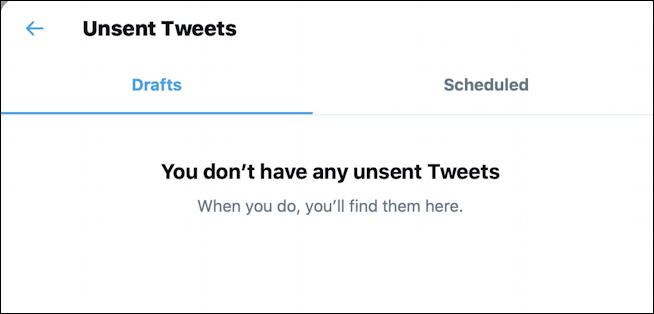 twitter - don't have unsent draft tweets