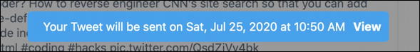 twitter - tweet schedule updated