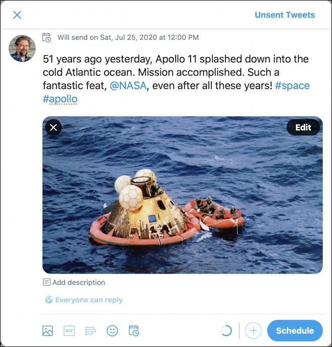 scheduled tweet - apollo 11 splashdown