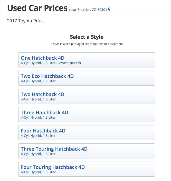 toyota prius 2017 options model choices kelley blue book