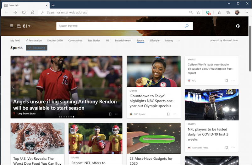 live.com sports - regular mode