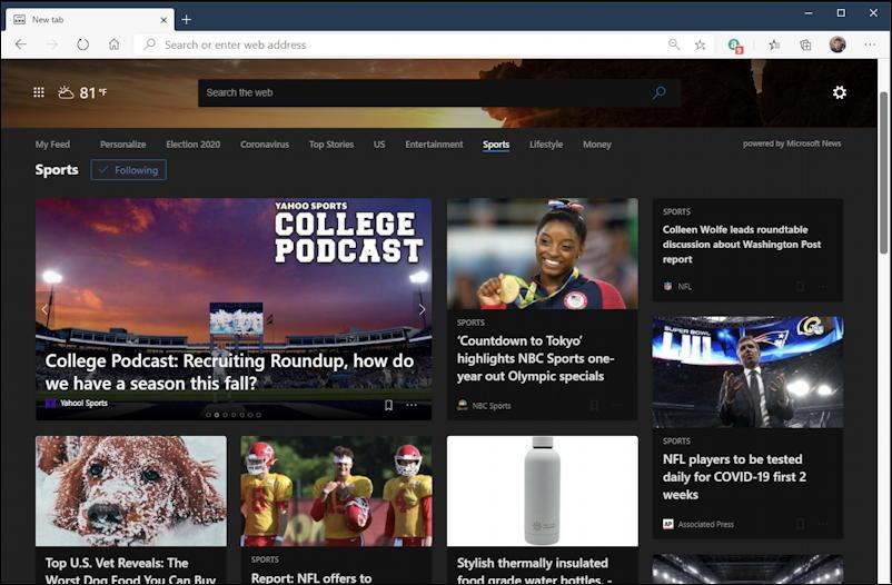 live.com sports news - microsoft edge dark mode