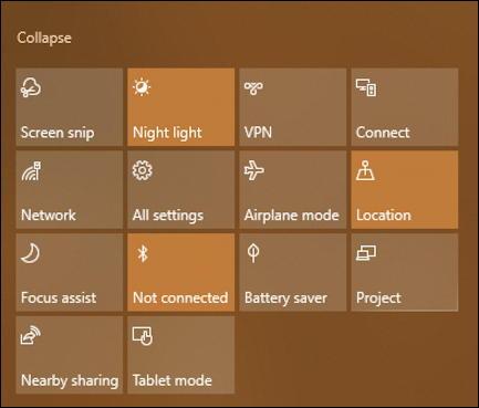 windows 10 notifications shortcut buttons grid - screen shot