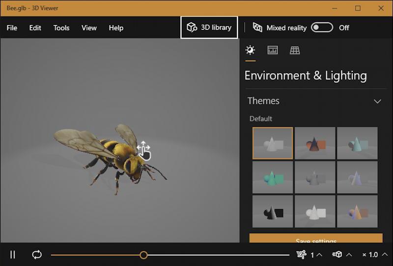 win10 3d viewer bee