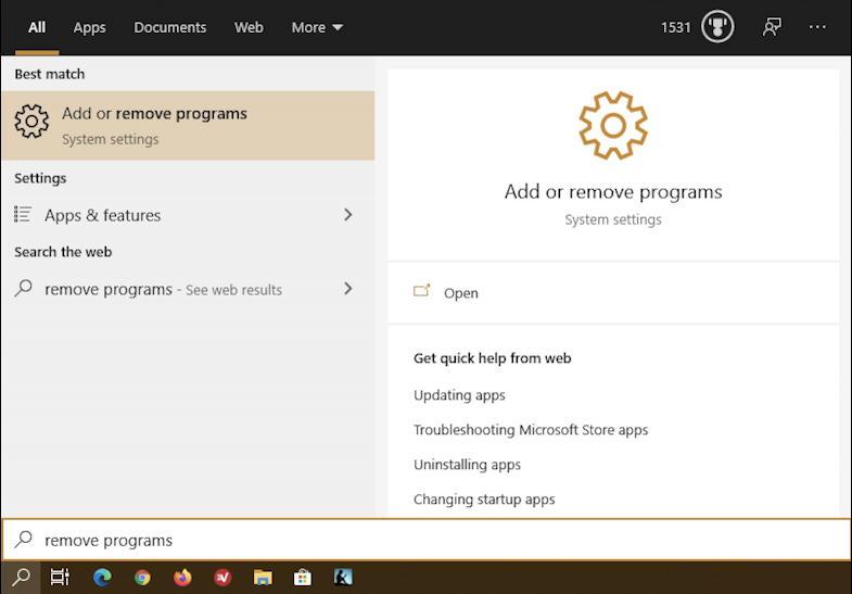 win10 task bar search: remove program