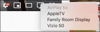youtube video player - airplay options choices menu