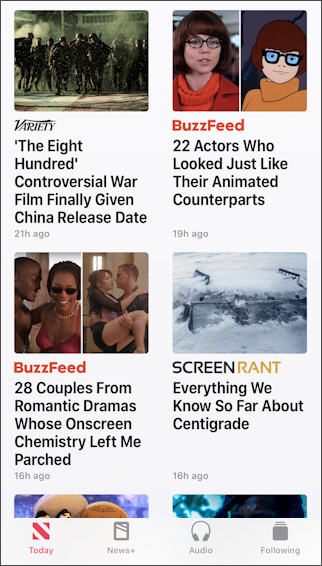 apple news main screen