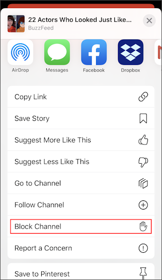 apple news iphone - more share options - block channel