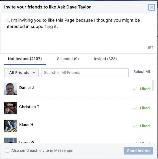 facebook business page - invite friends window