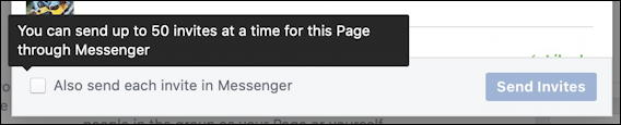 facebook business page - invitations as messages too?