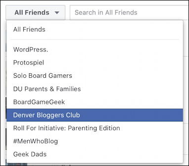 facebook business page - pick a group you're in