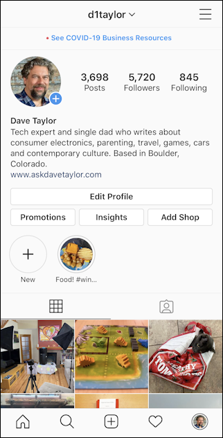 instagram user profile screen - iphone - d1taylor
