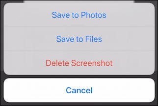 iphone ios13 - annotation editor - save to photos files delete screenshot
