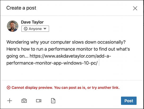 linkedin error: cannot display preview