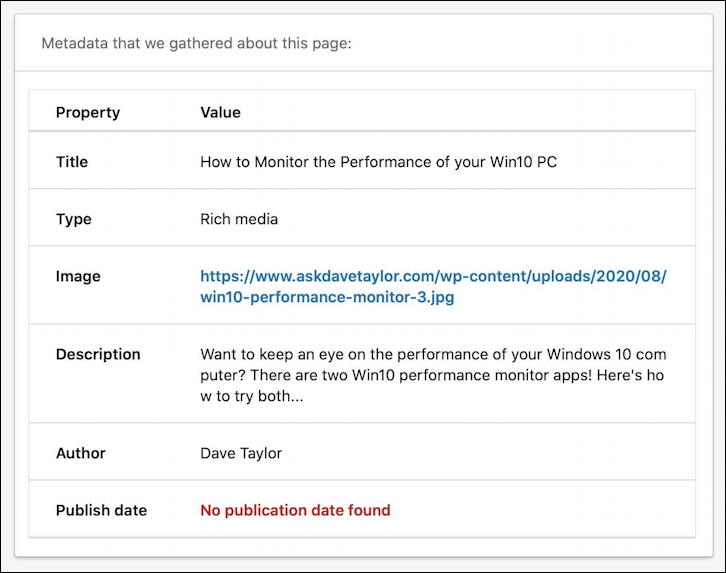 linkedin post inspector - details of open graph data