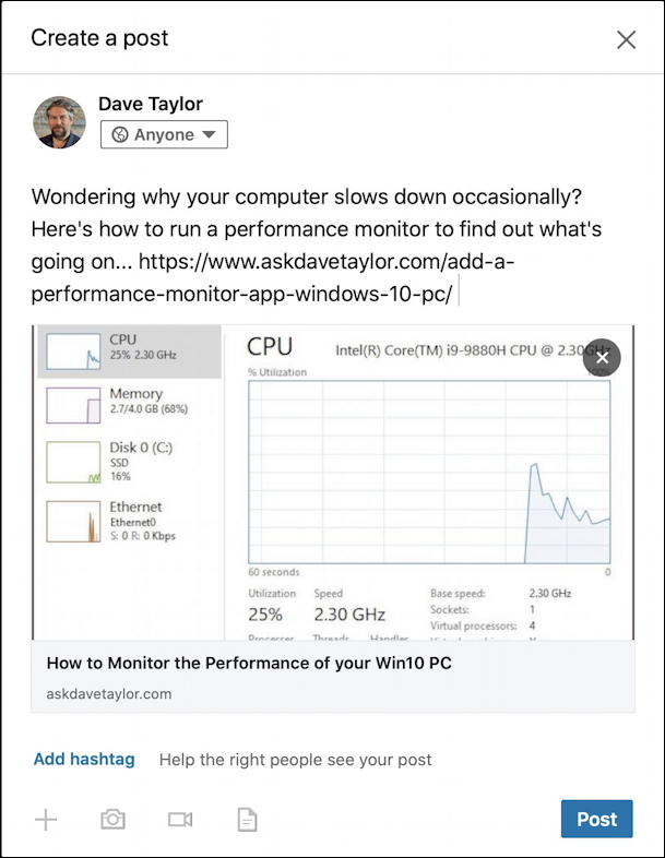 linkedin post with fixed cache preview