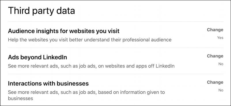 linkedin third party data - settings preferences privacy