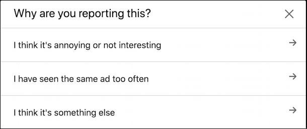 linkedin report this ad options