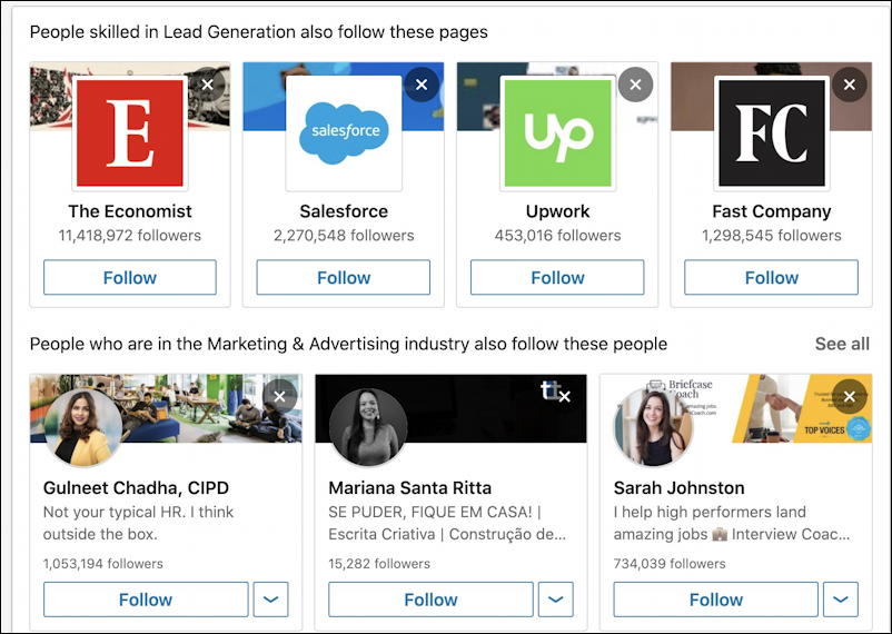 linkedin improve your feed - follow