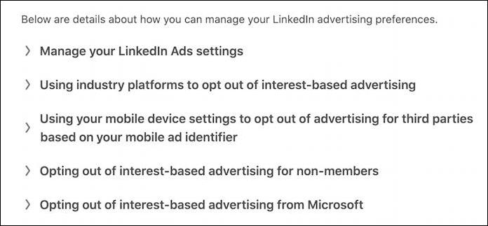 linkedin ad privacy settings