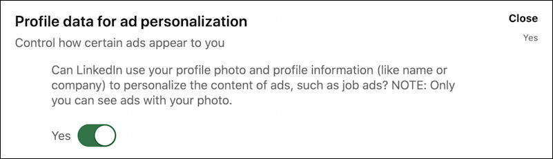 general advertising preferences - linkedin settings