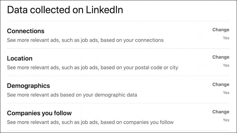 data collected on linkedin advertising privacy settings