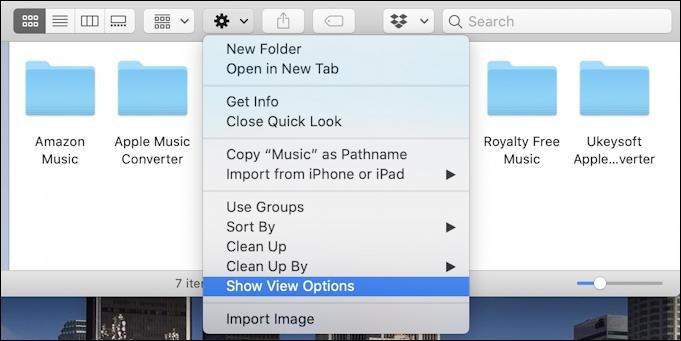 macos x - finder - show folder options