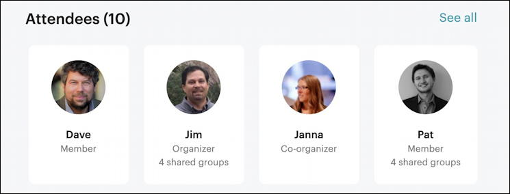 meetup.com - attending meeting bio pics