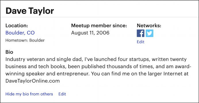 meetup.com - my profile bio information