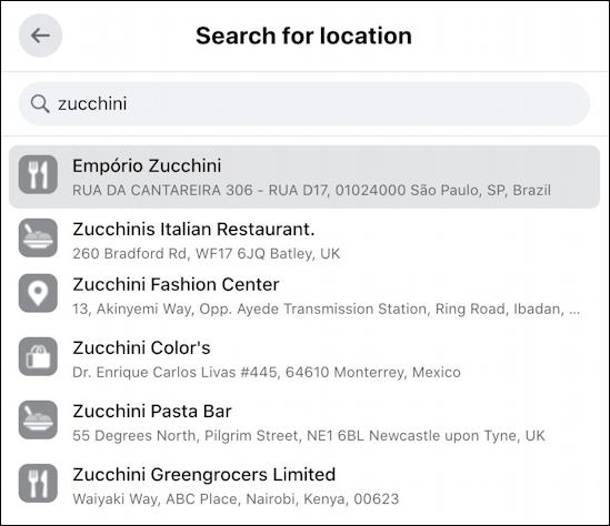 new facebook status update - zucchini check in