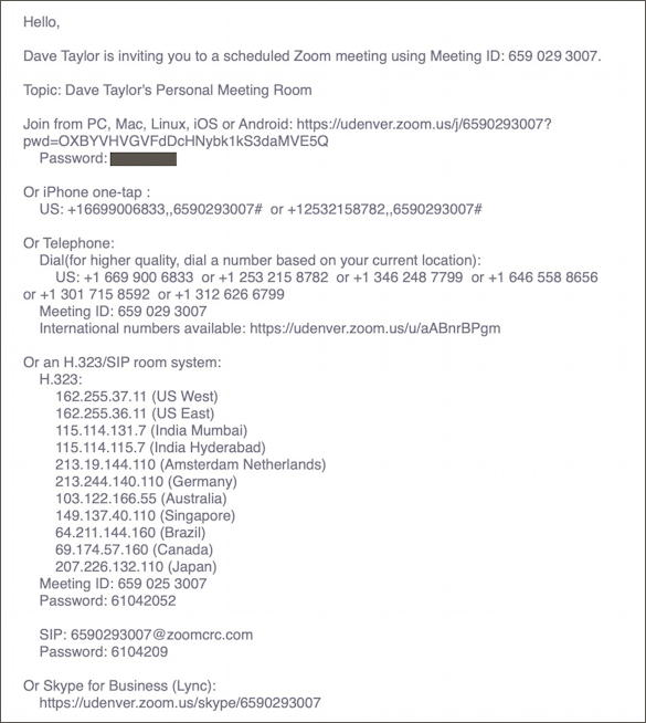 zoom - meeting invitation email