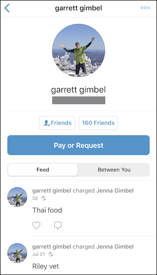 individual person profile info venmo