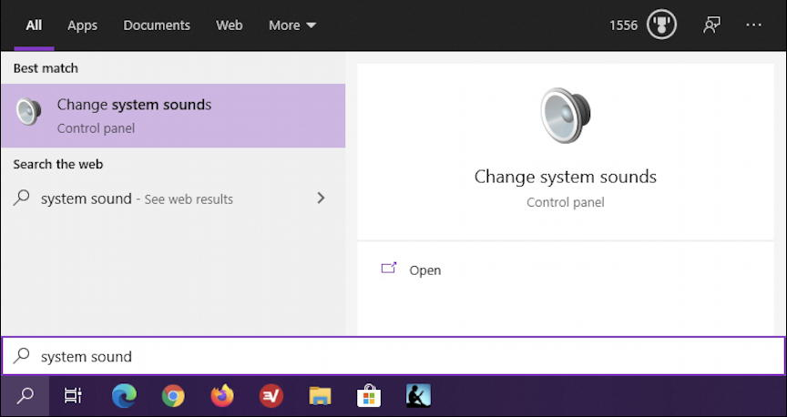 win10 search - system sound