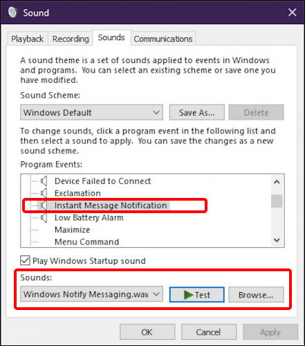 win10 system sounds preferences settings - instant message sound beep notification