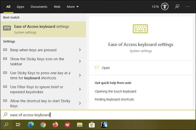 win10 search - taskbar - ease of use keyboard