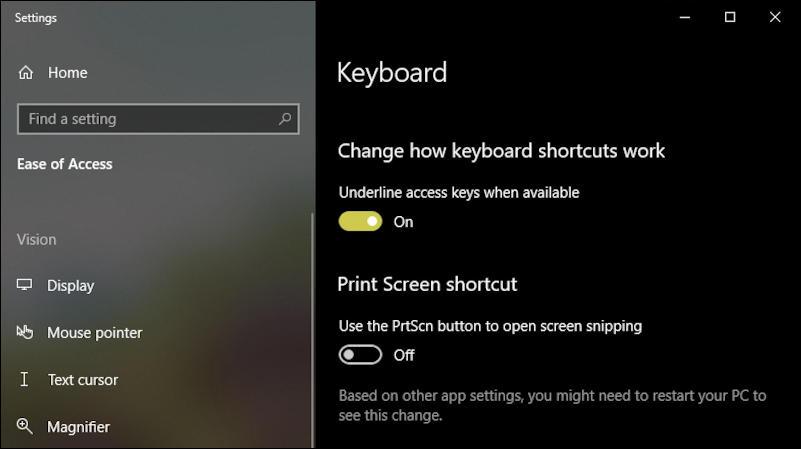 win10 ease of access keyboard settings control panel
