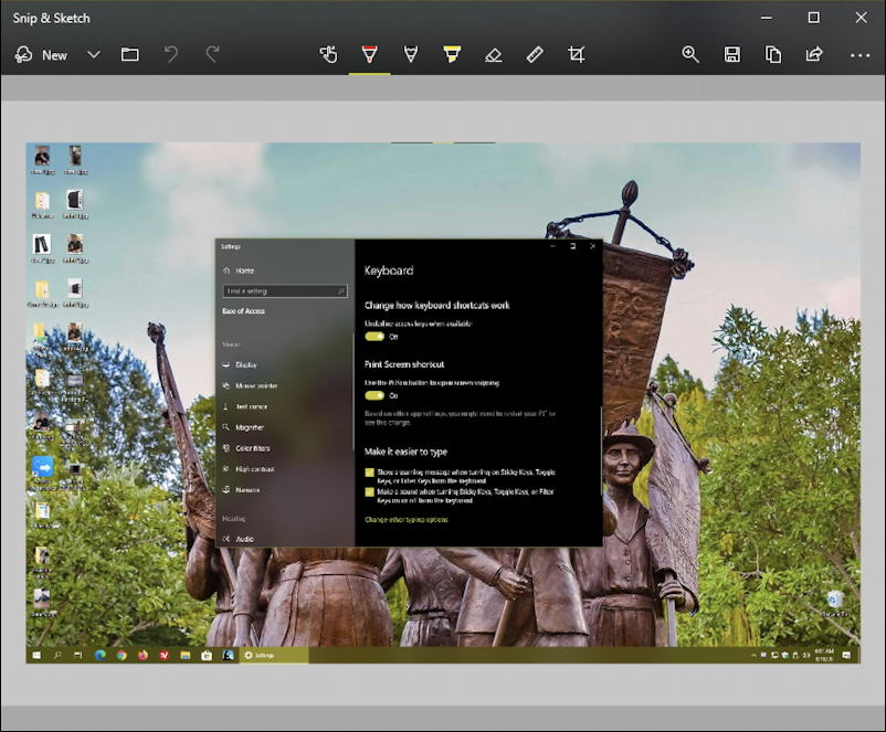 snip & sketch with screen capture - windows 10