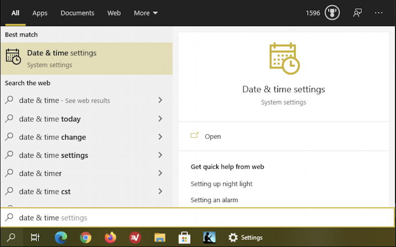 win10 taskbar - date & time search