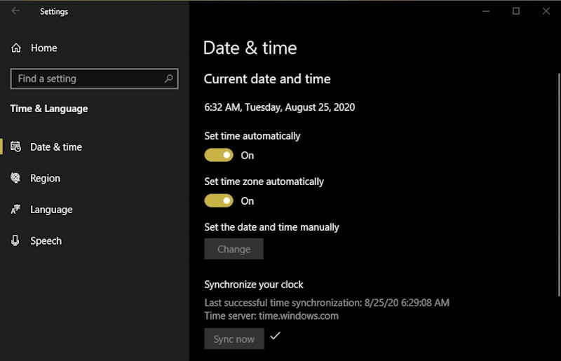 win10 date & time settings preferences pane panel