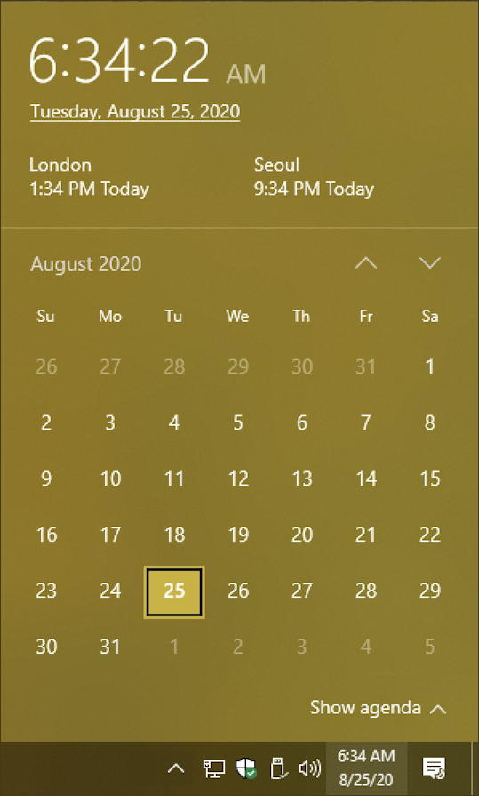 win10 time date calendar display window - additional timezones regions added