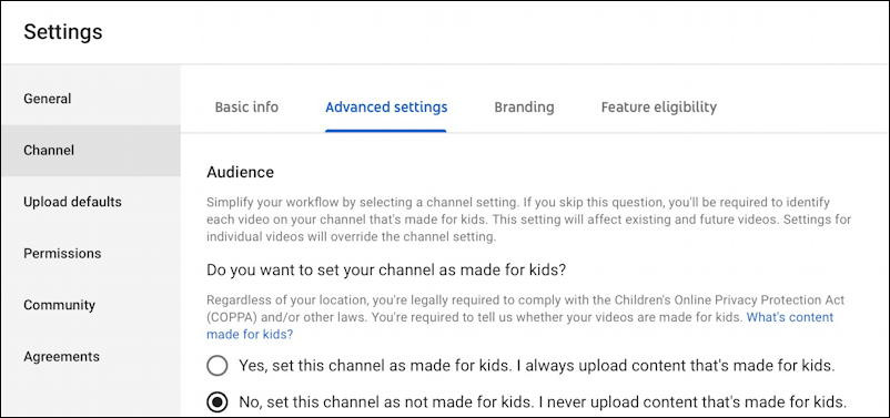 youtube creator studio channel settings