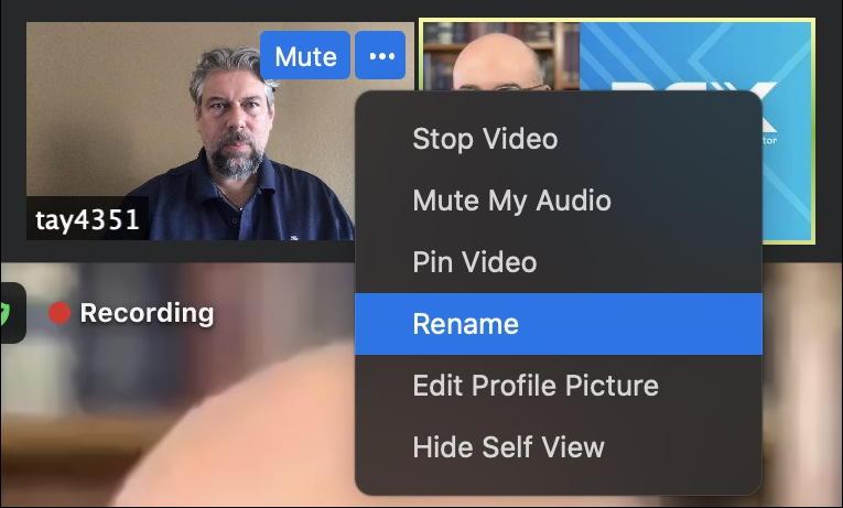 zoom meeting - live attendee settings menu - rename