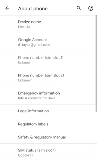 android 10 - settings - about phone