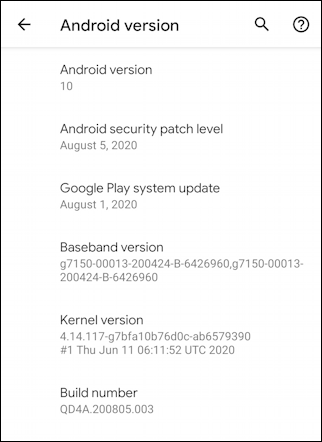 android 10 version information about phone