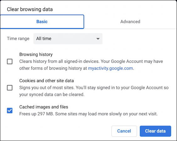 google chrome settings - clear browser data cache