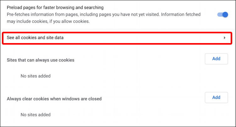 google chrome settings - see all cookies
